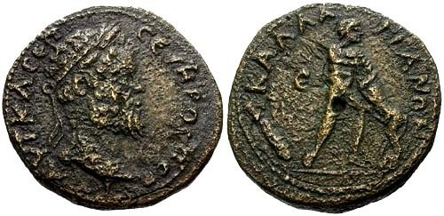 Ancient Coins - VF/VF Septimius Severus Lower Moesia Kallatis AE26 / Herakles
