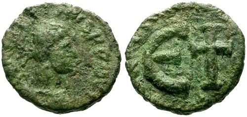 Ancient Coins - VF/VF Justin I Ostrogothic AE Pentanummium Struck by Theodoric