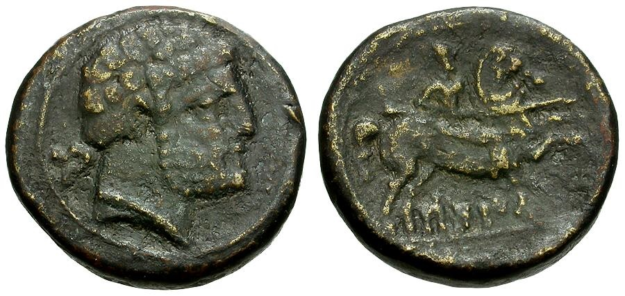 Ancient Coins - Spain.  Ilcetil Æ AS / Horseman