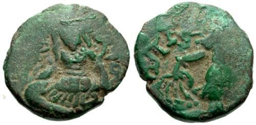 Ancient Coins - VF/VF Hephthalite Kashmir AE Stater Anonymous Toramana Type