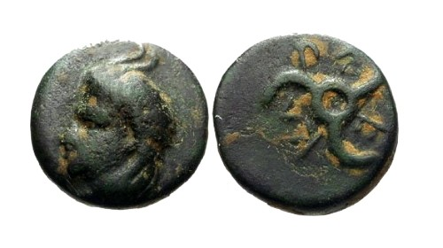 Ancient Coins - EF/VF Lycia Dynast of Antiphellos AE14 / Horned Pan & Triskeles / Perikle