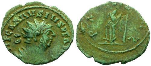 Ancient Coins - VF/F Carausius Follis / Pax
