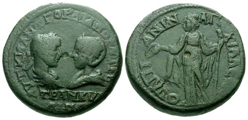 Ancient Coins - aVF/aVF Gordian III & Tranquillina Thrace Anchialus AE27 / Demeter