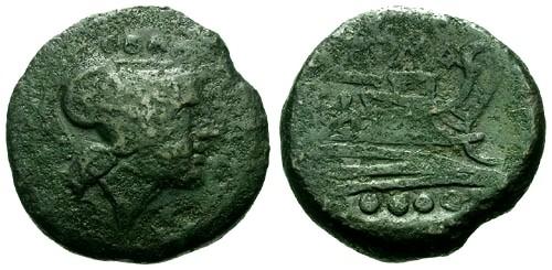 Ancient Coins - gF/gF 169-158 BC Roman Republic Triens