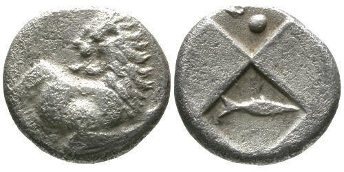 Ancient Coins - VF/VF Cherronesos AR Hemidrachm / Fish
