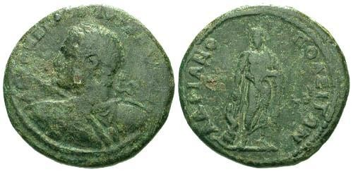 Ancient Coins - gF/aVF Caracalla AE28 Hadrianopolis Thrace / Heroic Bust with Spear and Shield