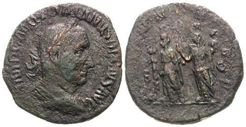 Ancient Coins - F/F Trajan Decius Sestertius / Pannonia