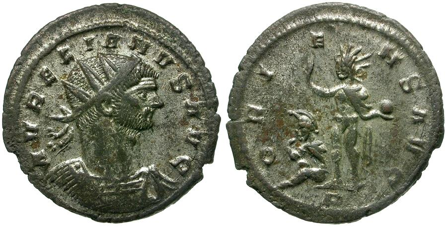 Ancient Coins - Aurelian (AD 270-275) AR Antoninianus / Sol