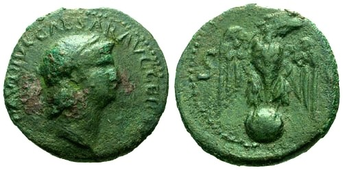 Ancient Coins - aVF/aVF Nero AE AS / Eagle on globe / Not in RIC