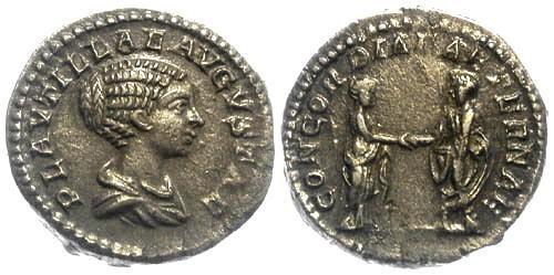 Ancient Coins - EF/EF Plautilla, wife of Caracalla, AR Denarius