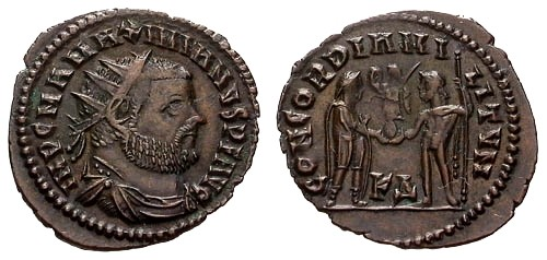 Ancient Coins - VF/VF Maximianus AE Post Reform Radiate Fraction / Emperor receiving Victory from Jupiter