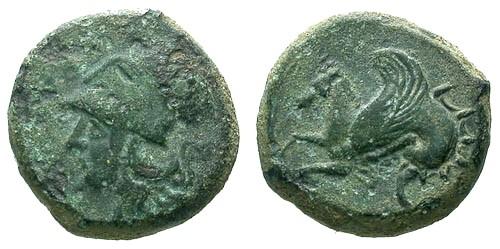 Ancient Coins - F/VF Sicily Syracuse AE Trias Time of Timoleon / Athena / Hippocamp