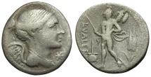 108-107 BC - Roman Republic.  L. Valerius Flaccus AR Denarius / Mars