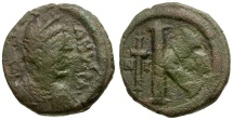 Ancient Coins - Byzantine Empire. Justinian I Æ Half Follis