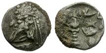 Ancient Coins - Kings of Persis.  Darios (Darev) II AR Obol / King Sacrificing