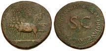 Ancient Coins - Divus Augustus. Struck under Tiberius Æ Sestertius / Elephant Quadriga