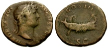Ancient Coins - gF/gF Hadrian Æ AS / Galley
