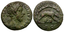 Ancient Coins - Marcus Aurelius Æ AS / Wolf and Twins