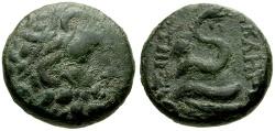Ancient Coins - Mysia, Pergamon Æ18 / Asklepios / Snake