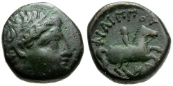 Ancient Coins - Kings of Macedon.  Philip II Æ16 / Youth on Horseback