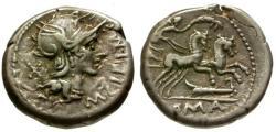 Ancient Coins - VF/VF 115-114 BC - Roman Republic M. Cipius M.f. AR Denarius / Victory in Biga
