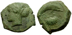 Ancient Coins - Sicily.  Syracuse Æ18 / Dolphin and Scallop Shell