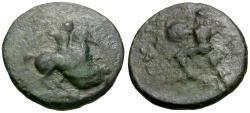 Ancient Coins - Thessaly. Pelinna Æ15 / Warrior