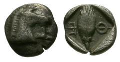 Ancient Coins - VF/VF Thessaly, Thessalian League AR Hemiobol / Horse head / Barley grain