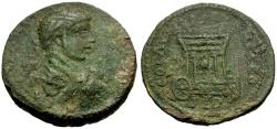 Ancient Coins - Elagabalus, Phoenicia, Sidon Æ26 / Car of Astarte