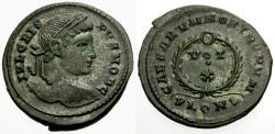 Ancient Coins - EF/EF Crispus silvered Æ3 / Votive