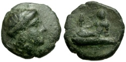 Ancient Coins - Thrace. Odessos Æ17 / Reclining god