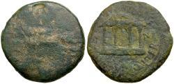 Ancient Coins - Tiberius. Spain. Carthago Nova Æ20 / Temple