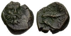 Ancient Coins - VF/VF Thrace, Istros Æ15 / River god / Eagle on Dolphin