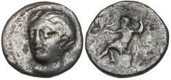 Ancient Coins - Thessaly. Skotussa AR Hemidrachm / Poseidon Seated