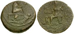 Ancient Coins - Cilicia. Tarsos Æ27 / Tyche and River god