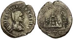Ancient Coins - Julia Domna. Cappadocia. Caesarea AR Drachm / Mt. Argaeus