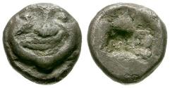 Ancient Coins - VF/VF Macedon, Neapolis AR Obol / Gorgon