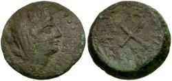Ancient Coins - Cilicia. Zephyrion Æ20 / Crossed Torches