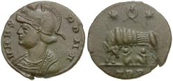 Ancient Coins - Constantine I the Great (AD 306-337). Constantinople Commemorative Æ / Wolf and Twins
