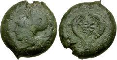 Ancient Coins - Sicily. Syracuse. Dionysios I Æ Drachm / Dolphins and star