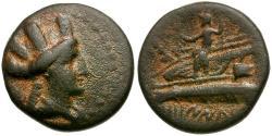 Ancient Coins - Phoenicia. Arados AE16 / Poseidon on galley