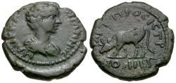 Ancient Coins - Caracalla (AD 198-217). Moesia Inferior. Nicopolis Æ16 / Cow grazing