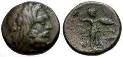 Ancient Coins - Kings of Macedon.  Philip V Æ16 / Zeus and Athena