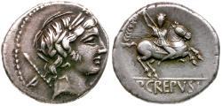 Ancient Coins - 82 BC - Roman Republic. Pub. Crepusius AR Denarius / Horseman Hurling Spear