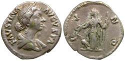 Ancient Coins - Faustina II (AD 147-175) AR Denarius / Juno