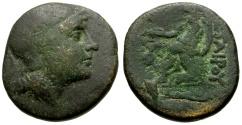 Ancient Coins - Mysia, Pergamon Æ16 / Pallas / Asklepios