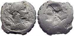 Ancient Coins - 81 BC - Roman Republic. A. Postumius A.f. Sp.n. Albinus AR Denarius / Brockage