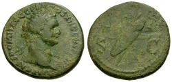 Ancient Coins - Domitian Æ Dupondius / Crossed Shields and Spears
