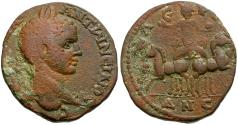 Ancient Coins - Elagabalus. Coele-Syria. Leucas on the Chrysoroas Æ26 / Helios in Spread Quadriga