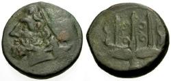 Ancient Coins - aVF/gF+ Sicily, Syracuse, Hieron II Æ20 / Poseidon / Trident